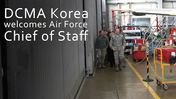Defense Contract Management Agency Korea staff welcomed Air Force Chief of Staff Gen. David L. Goldfein on his latest visit to the Republic of Korea. DCMA Korea key leaders briefed Goldfein on the DCMA mission and provided him with a tour of the Korean Airlines' aircraft depot Gimhae, Korea Jan. 26, 2018. (Korean Air photo by Chang Mok Lee)