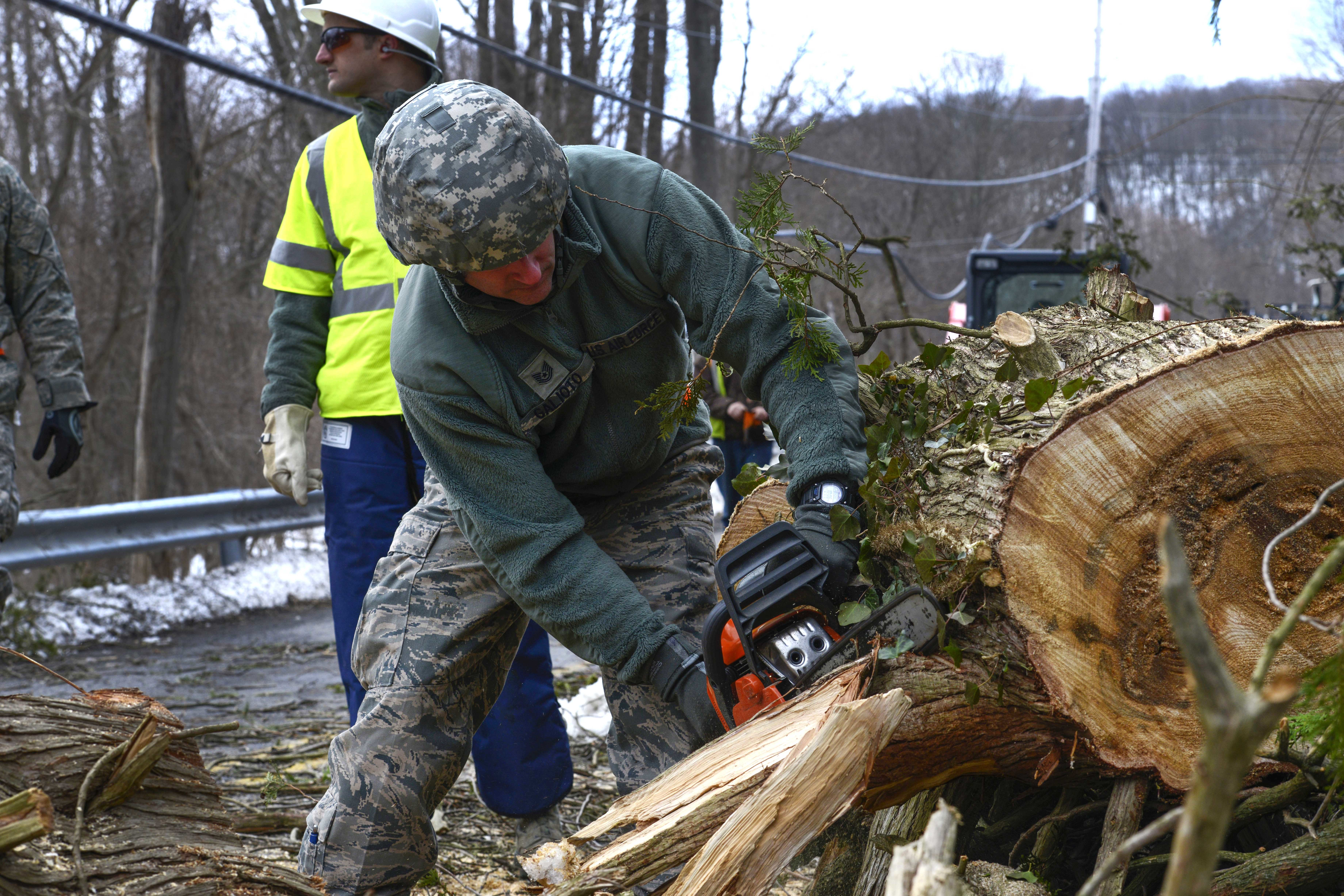 An airmen uses a chainsaw to cut a fallen tree.