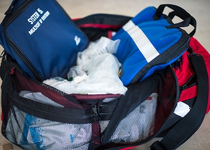 An emergency response bag is displayed at the Langley Hospital at Joint Base Langley-Eustis, Feb. 22, 2018.