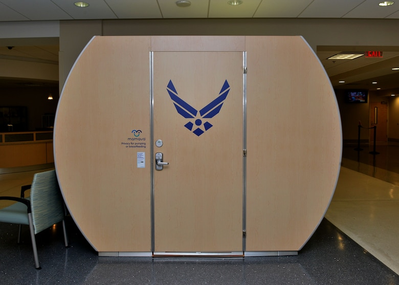 The Langley Air Force Base Hospital received new Mamava lactation pods early February for the convenient use for staff as well as patients. The portable pods are a private space that mothers can use to breastfeed or pump while at the hospital. (U.S. Air Force photo by Airman 1st Class Alexandra Singer)