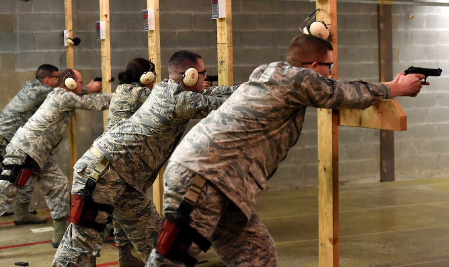 Students in the Warrior Ancillary Specialized Training Program participate in Combat Arms Training and Maintenance at the firing range on Goodfellow Air Force Base, Texas, Feb. 27, 2018. Students took part in CATM courses and also qualified on their weapons in preparation for the final training exercise the next day. (U.S. Air Force photo by Airman 1st Class Seraiah Hines/Released)