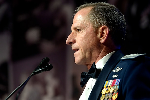 Chief of Staff of the Air Force Gen. David L. Goldfein speaks during the 10th Annual Tragedy Assistance Program for Survivors Honor Guard Gala March 6, 2018, in Washington, D.C. TAPS provides worldwide care to family members who are grieving the death of a service member. (U.S. Air Force photo by Staff Sgt. Rusty Frank)