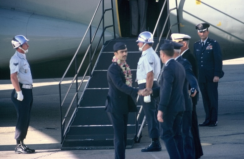 Col. Lee Ellis arrives at Clark Air Base, Philippines, after being released for the Hanoi prison camp. (Courtesy photo.)