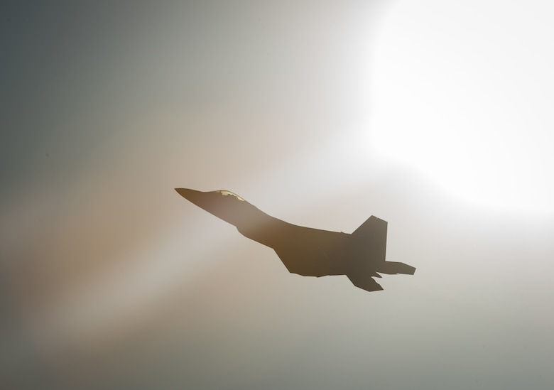 "U.S. Air Force Maj. Paul ""Loco"" Lopez, Air Combat Command F-22 Raptor Demonstation Team, flies the F-22 Raptor, demonstrating its combat capabilities during the U.S. Air Force Heritage Flight Training Course at Davis-Monthan Air Force Base, Arizona, March 2, 2017."