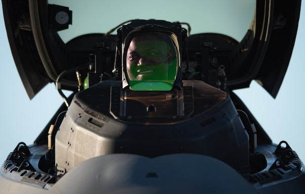 "U.S. Air Force Maj. Paul ""Loco"" Lopez, Air Combat Command F-22 Raptor Demonstration Team commander, smiles at one of his crew chiefs after a U.S. Air Force Heritage Flight Training Course flight at Davis-Monthan Air Force Base, Arizona, March 4, 2017."
