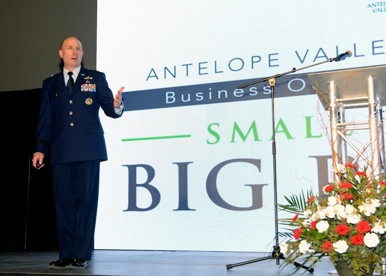 Brig. Gen. Carl Schaefer, 412th Test Wing commander, speaks at the Antelope Valley Board of Trade's 46th Annual Business Outlook Conference at the Antelope Valley Fairgrounds in Lancaster, California, Mar. 2. (U.S. Air Force photo by Michelle Thomas)