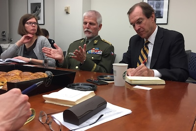 Gen. Petr Pavel of the Czech army, center, the chairman of NATO's Military Committee, answers a question at a Defense Writers Group.