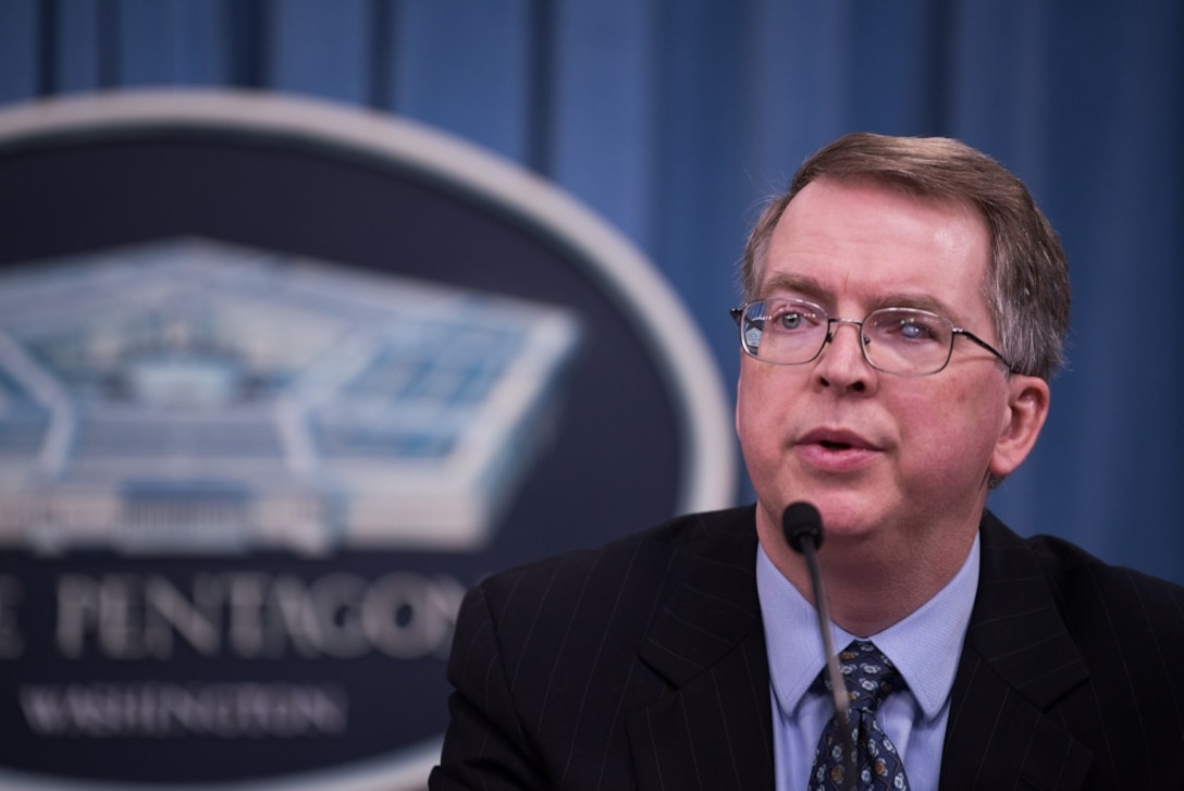 Defense Department Comptroller and Chief Financial Officer David L. Norquist briefs reporters.