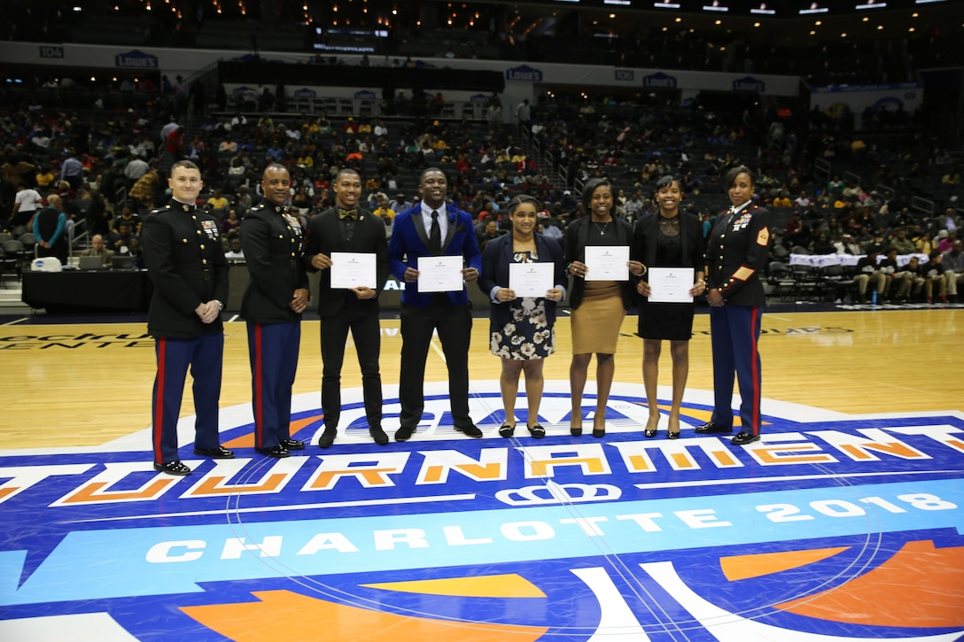 The United States Marine Corps recognized outstanding student athlete advisory committee (SAAC) students during the Central Intercollegiate Athletic Association (CIAA) men's semifinals of the CIAA Basketball Tournament at the Spectrum Center in Charlotte, NC, March 2. During the tournament, the CIAA took time to recognize the contributions and successes of 100 years of women in the Marine Corps with a presentation during the men's semifinals.