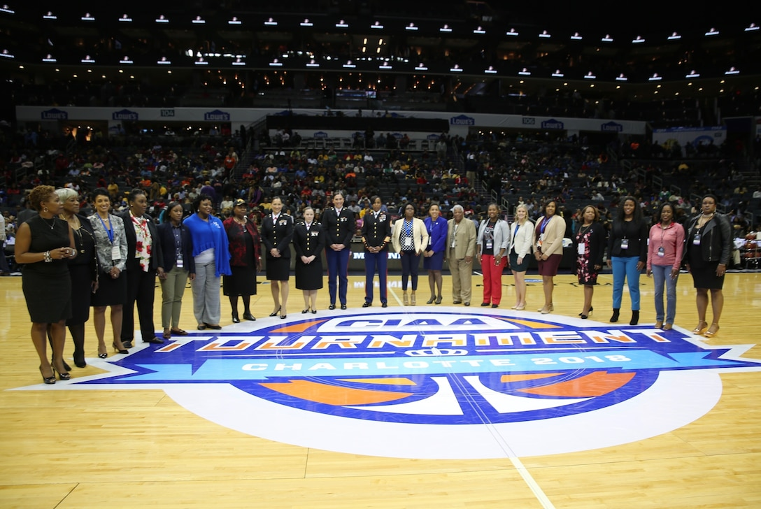 The Central Intercollegiate Athletic Association (CIAA) recognized the sacrifices and successes of 100 years of women in the United States Marine Corps during the men's semifinals of the CIAA Basketball Tournament at the Spectrum Center in Charlotte, March 2.  During the tournament, the CIAA took time to recognize the contributions and successes of 100 years of women in the Marine Corps with a presentation during the men's semifinals. The CIAA Basketball Tournament is scheduled for Feb. 27 to March 3, 2018 in Charlotte.