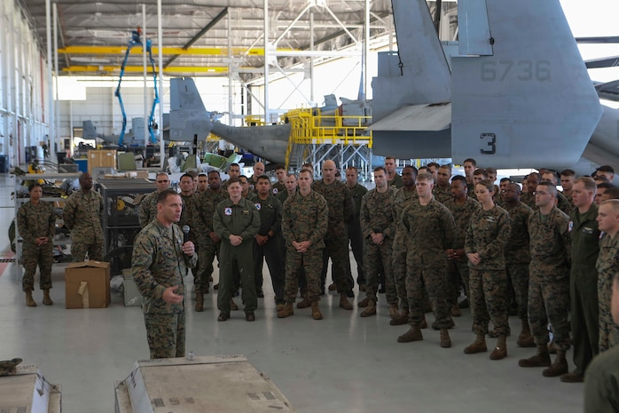 Col. Joseph Clearfield, the commanding officer of the 15th Marine Expeditionary Unit, thanks the Marines and Sailors of Marine Medium Tiltrotor Squadron 161 (Reinforced) for their professionalism and dedication throughout the deployment, March 5, 2018. The 15th MEU is one of seven Marine Expeditionary Units currently in existence in the United States Marine Corps. The MEU's mission is to provide a rapid-response force capable of conducting conventional amphibious and maritime operations from sea, surface or air.
