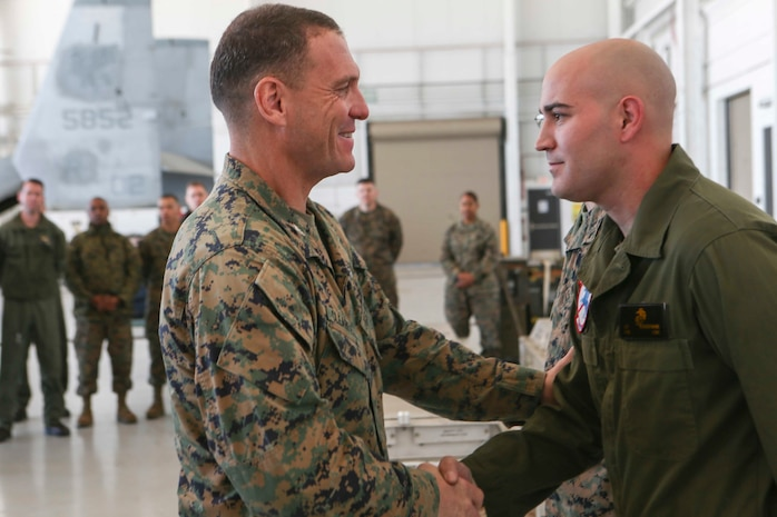 Col. Joseph Clearfield, the commanding officer of the 15th Marine Expeditionary Unit, gives recognition to Marines and Sailors of Marine Medium Tiltrotor Squadron 161 (Reinforced) for their outstanding dedication and hard work throughout the deployment, March 5, 2018. The 15th MEU is one of seven Marine Expeditionary Units currently in existence in the United States Marine Corps. The MEU's mission is to provide a rapid-response force capable of conducting conventional amphibious and maritime operations from sea, surface or air.