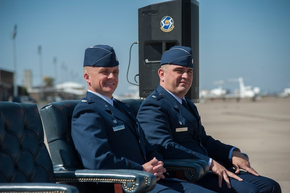 Lt. Col. Andrew Katz formally assumed command of the 47th Operations Support Squadron from Lt. Col. Britt Warren during the change of command ceremony, March 2, 2018, here. The leadership of the 47th OSS commander empowers the Airmen to manage one of the Air Force's busiest airfield, while enabling student pilot graduation. (U.S. Air Force photo/Airman 1st Class Daniel Hambor)
