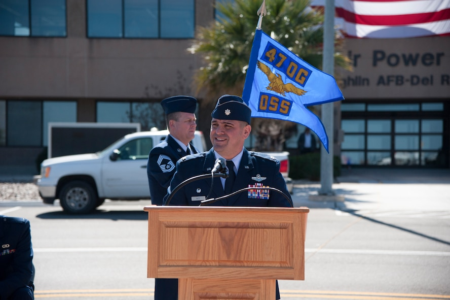 Lt. Col. Andrew Katz formally assumed command of the 47th Operations Support Squadron during a transfer of responsibility, March 2, 2018, here. Katz assumed command of the squadron from Lt. Col. Britt Warren during the change of command ceremony. (U.S. Air Force photo/Airman 1st Class Daniel Hambor)