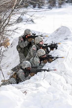 Soldiers perform perimeter security.