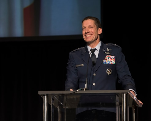 U.S. Air Force Maj. Gen. Robert Skinner, Deputy Commander of Air Force Space Command, speaks at the 2018 Rocky Mountain Cyberspace Symposium in Colorado Springs, Colorado, March 6, 2018.  Skinner discussed the command's efforts to improve processes, develop personnel, and push technology forward in the cyber security field.  The symposium is a national forum for industry and government to collaborate to help meet challenges of cyber security, cyber readiness, and national defense.   (U.S. Air Force photo by Dave Grim)
