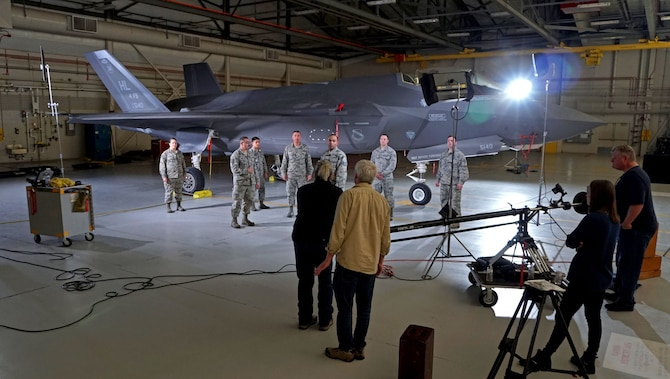 F-35 maintainers from the 419th Aircraft Maintenance Squadron participate in a video shoot for Air Force Reserve recruiting efforts