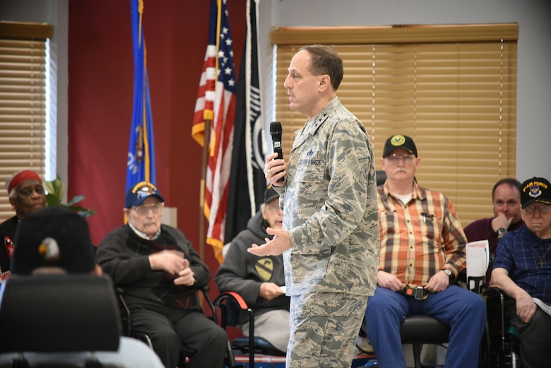 Air Force Sustainment Center Commander Lt. Gen. Lee K. Levy II poses a question to the Norman Veterans Center military panel during a Feb. 28, 2018, visit to the center in Norman, Oklahoma. The 15-member panel frequently visits area schools to share their military experiences and life lessons with students.