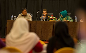 Women, Peace and Security seminar experts speak at a panel during the Pacific Partnership 2016 Women, Peace and Security seminar.