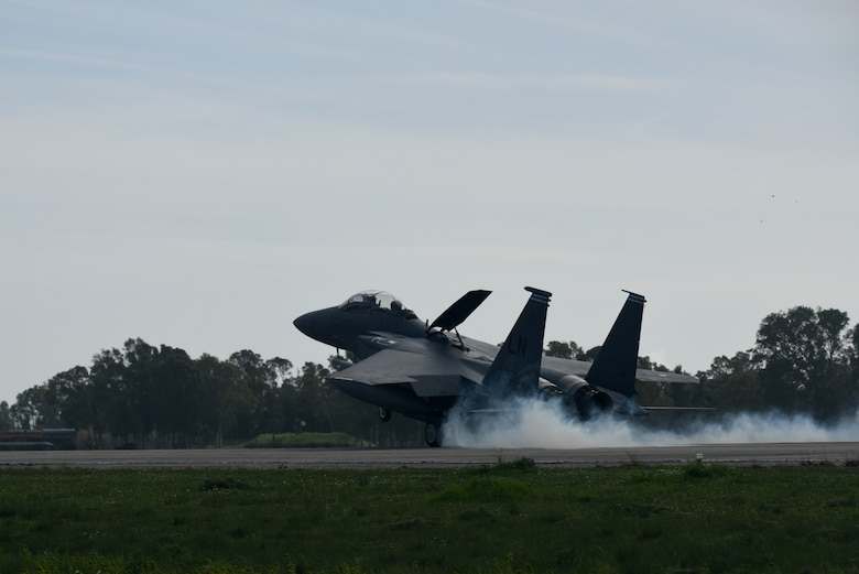 An F-15E Strike Eagle, assigned to the 492nd Fighter Squadron from Royal Air Force Lakenheath, England, arrives at Andravida Air Base, Greece, March 7. The 492nd FS is scheduled to participate in INIOHOS 18, a Hellenic Air Force-led, large force flying exercise that is slated to involve seven countries and over 50 aircraft. (U.S. Air Force photo/Airman 1st Class Eli Chevalier)