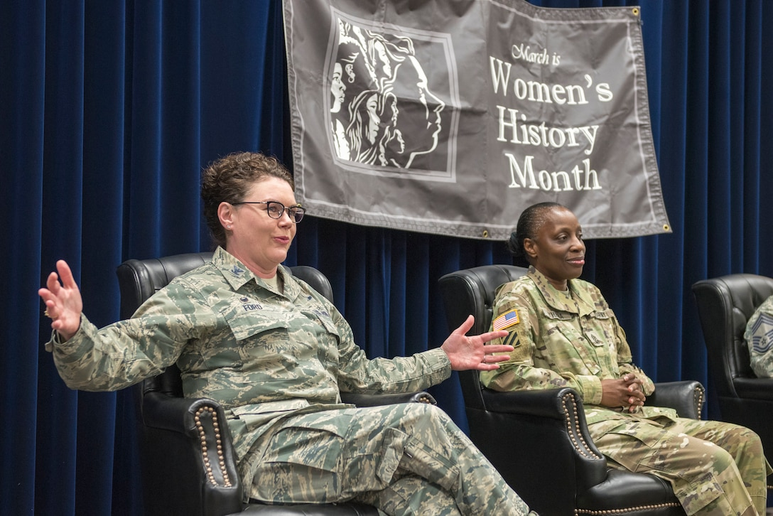 Col. Ingrid Ford, 374th Medical Group commander, responds to a question at the Women's History Month panel at Yokota Air Base, Japan, March 8, 2018.