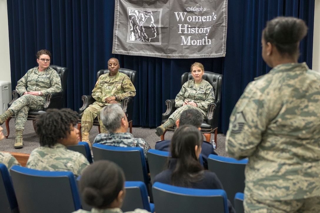 Members of the Women's History Month panel field questions from the audience at Yokota Air Base, Japan, March 8, 2018.