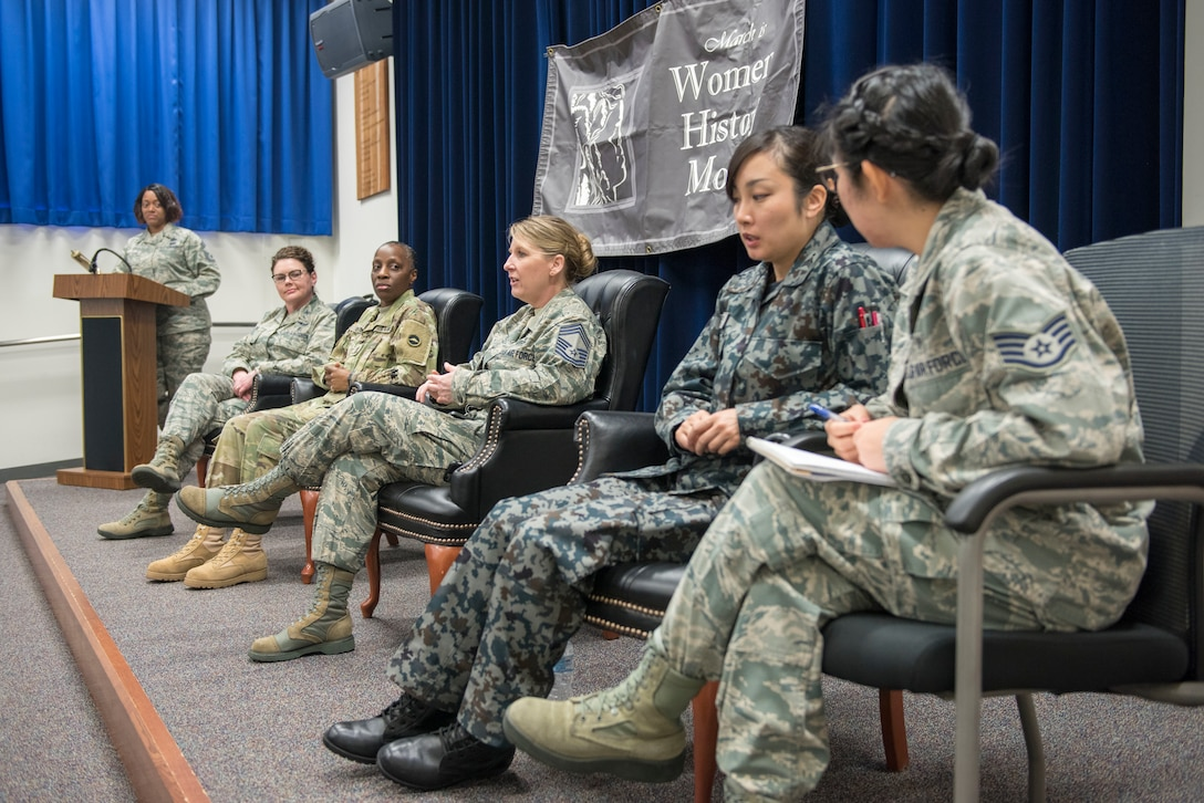 Chief Master Sgt. Kiley Scholl, 374th Mission Support Group superintendent, responds to a question at the Women's History Month panel at Yokota Air Base, Japan, March 8, 2018.