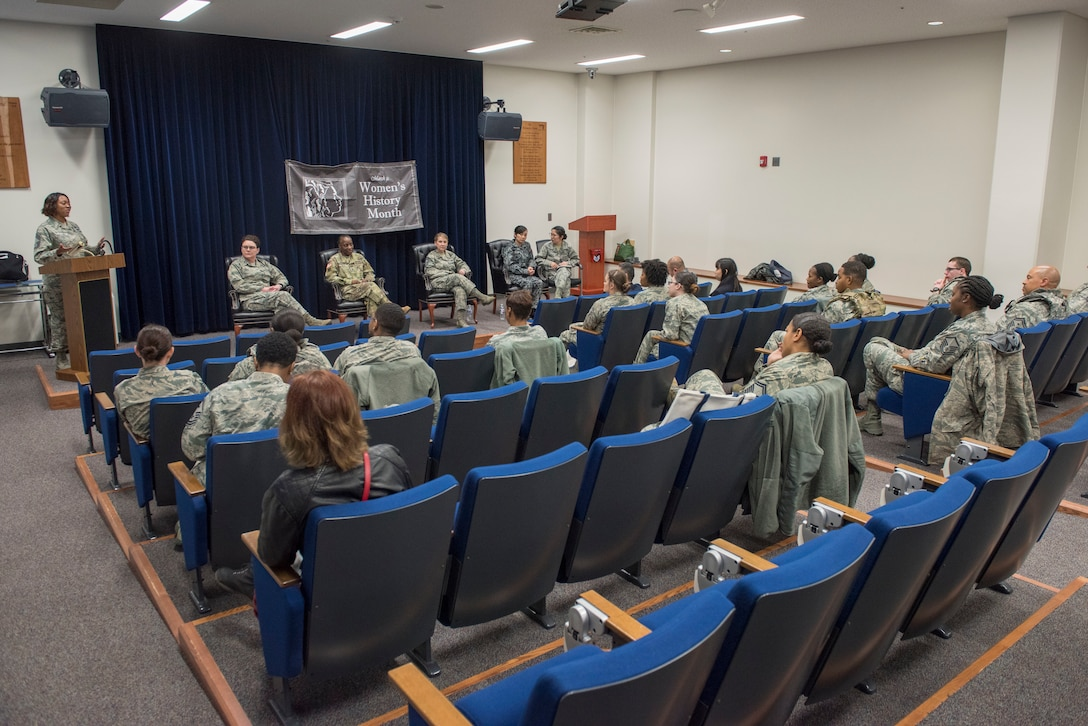 Members of the U.S. Air Force, U.S. Army and Koku Jietai(Japan Air Self-Defense Force) came together to celebrate Women's History Month with a WHM panel at Yokota Air Base, Japan, March 8, 2018.