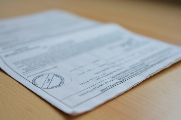 A value-added tax form lies on a desk on Ramstein Air Base, Germany, March 9, 2018. When U.S. DOD members make a permanent change of station to Germany, they have the privilege of saving money on taxes by purchasing VAT forms and enrolling in the utility tax avoidance program. (U.S. Air Force photo by Senior Airman Joshua Magbanua)