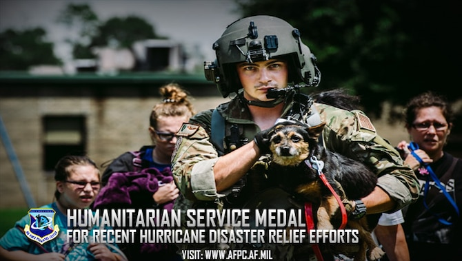 Officials announce authorization of Humanitarian Service Medal for service members who provided disaster relief during Hurricanes Harvey, Irma or Maria. (U.S. Air Force courtesy photo)