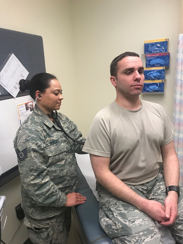 Tech. Sgt. Christina Pyeatt, an Independent Duty Medial Technician at Joint Base Elmendorf-Richardson, Alaska checks in on a patient, Feb. 2018. Having been in the Air Force for a year and a half, Pyeatt explains how women can bring unique perspectives and approaches to help tackle challenging issues. (Courtesy photo)