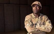 .S. Air Force Staff Sgt. Mackenzie Isidor, 822nd Expeditionary Base Defense Squadron fire team leader, stands on post at Nigerien Air Base 201, in Agadez, Niger, Feb. 26, 2018. Isidor routinely discusses the importance of diversity with his Airmen. (U.S. Air Force photo by Tech. Sgt. Nick Wilson)