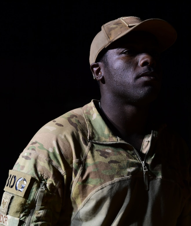 U.S. Air Force Staff Sgt. Mackenzie Isidor, 822nd Expeditionary Base Defense Squadron fire team leader, stands on post at Nigerien Air Base 201, in Agadez, Niger, Feb. 26, 2018. Isidor is currently deployed to West Africa out of Moody Air Force Base, Georgia, and is a five-year Air Force veteran. (U.S. Air Force photo by Tech. Sgt. Nick Wilson)