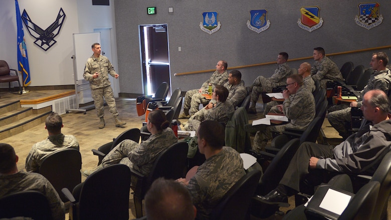 Master Sgt. Manny Ramirez speaks during a new Flight Commander's Course, Hill Air Force Base, Utah, March 7, 2018. Developed locally by wing, group and squadron leadership, the first-ever session was attended by veteran flight commanders from across base who were charged with evaluating and providing feedback about the training curriculum. The course will be offered twice a year. (U.S. Air Force photo by Airman 1st Class James Kennedy)