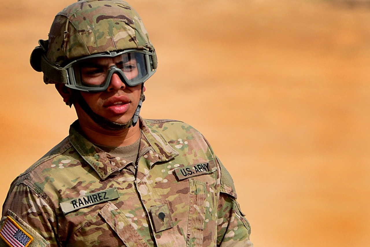 Army Spc. Ramon Ramirez, 5th Battalion, 7th Air Defense Artillery Regiment, conducts emplacement and system validation for the MIM-104 Patriot air defense missiles battery.