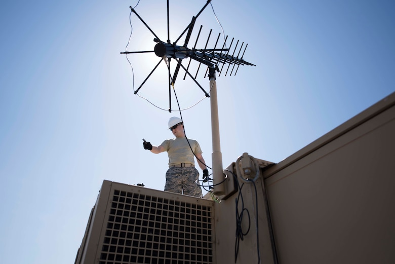 Master Sgt. Jeremy Streeter disassembles communications equipment during the 2018 Patriot Sands exercise, March 2, 2018, at Patrick Air Force Base, Fla. The airlift training exercise, which took place from Feb. 27 to March 3, 2018, enhances their ability to operate in simulated deployed environment with limited support. (U.S. Air Force photo by Staff Sgt. Christopher Stoltz)