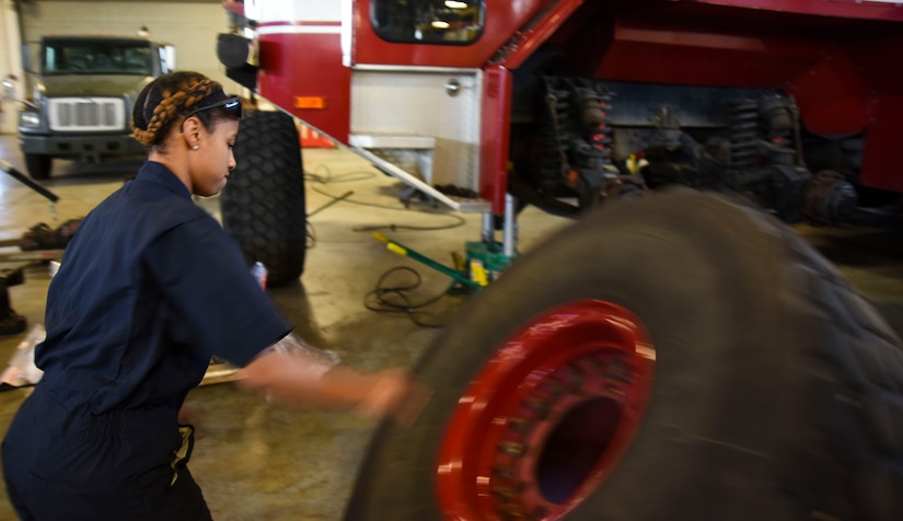Castle-Johnson moves fire truck tire