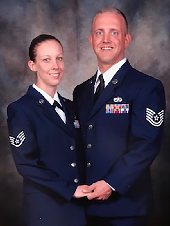 Master Sgt. Stephanie Ruepp, 38th Rescue Squadron unit training manager and resource advisor, and her husband Ret. Senior Master Sgt. Donal Ruepp, pose for a photo during a symposium in 2006, in San Antonio, Tx. Ruepp has recently been announced as the Georgia representative for the Elizabeth Dole Foundation Military and Veteran caregiver fellows program. As a fellow, Ruepp will help caregivers provide anything to improve the quality of life for their loved one; from wheelchair accessible vehicles and home modifications to finding nearby support groups and treatment facilities. (Courtesy photo)