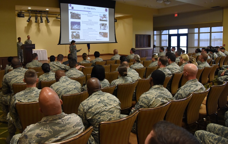 Col. Debra Lovette, 81st Training Wing commander, delivers remarks during a commander's all-call at the Bay Breeze Event Center March 5, 2018, on Keesler Air Force Base, Mississippi. Lovette presented four Bronze Stars to Keesler personnel for meritorious achievement and introduced the 81st TRW to the new wing vision and mission statement. (U.S. Air Force photo by Kemberly Groue)