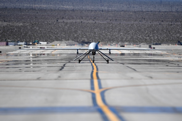 An MQ-1 Predator taxis on the runway March 9, 2018, at Creech Air Force Base, Nev. Today, the MQ-1 took flight for the last time at Creech, marking its retirement and the transition to an all MQ-9 Reaper force. (U.S. Air Force photo by Senior Airman James Thompson)