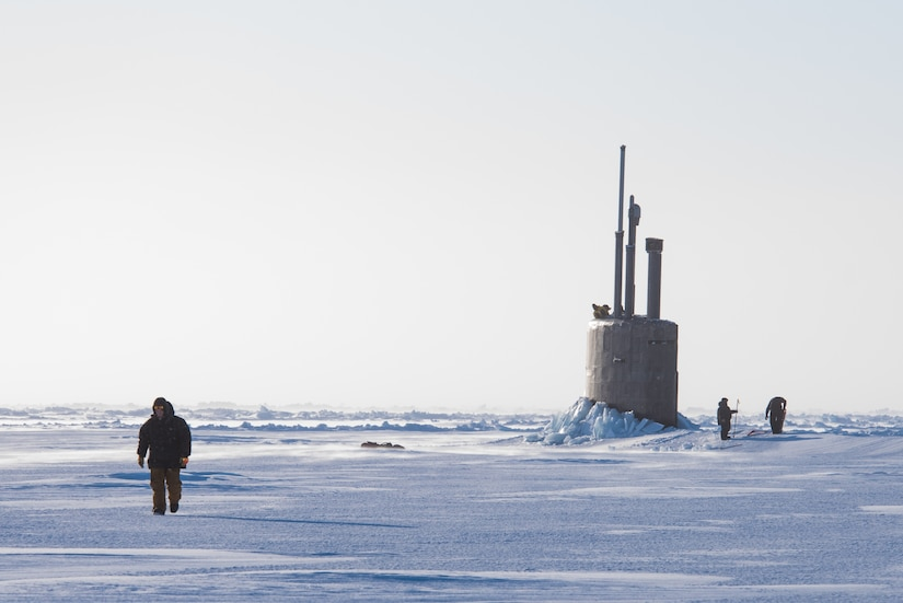 USS Connecticut surfaces in support of Ice Exercise 2018, Beaufort Sea, March 10, 2018 (U.S. Navy/Micheal H. Lee)