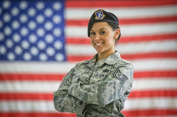 New Jersey Air National Guard Tech. Sgt. Heather Perez stands for a portrait in the 108th Security Forces facility on Joint Base McGuire-Dix-Lakehurst, N.J., March 1, 2018. Perez is a veteran of Operation Iraqi Freedom, and a combatives instructor. (U.S. Air National Guard photo by Master Sgt. Matt Hecht)
