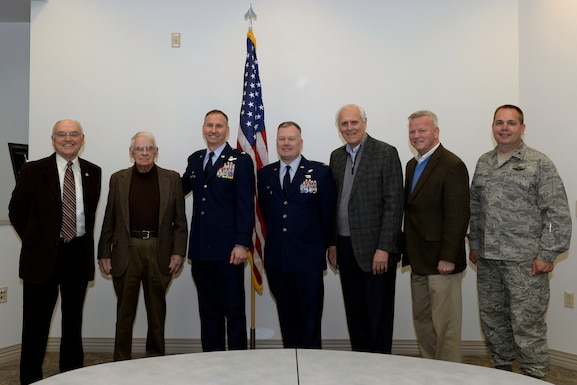 The incoming, current, and former commanders of the 157th Air Refueling Wing pose for a picture prior to a change of command ceremony at Pease Air National Guard Base, N.H., March, 10, 2018. Col. John Pogorek assumed command of the wing at a ceremony held later in the day.(N.H. Air National Guard photo by Senior Airman Taylor Queen)