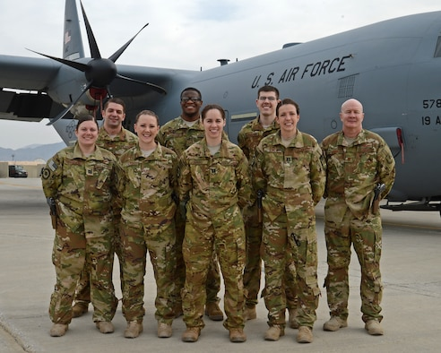 Aeromedical Evacuation and Critical Care Air Transport Team members from the 455th Expeditionary Aeromedical Evacuation Squadron pose for a photo Mar. 10, 2018 at Bagram Airfield, Afghanistan.