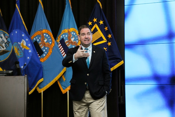 DLA Disposition Services Director Mike Cannon updates his workforce at a Feb. 6 Town Hall  session.
