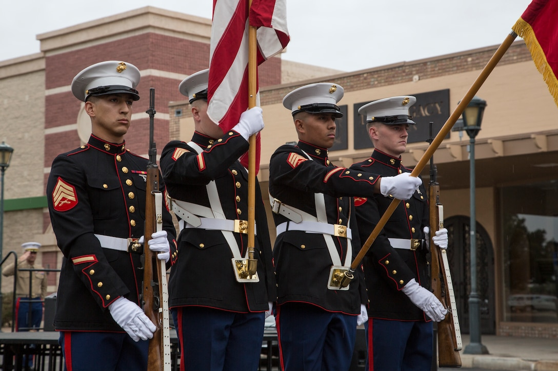 U.S. Marines with Headquarters and Headquarters Squadron, Marine Corps Air Station Yuma, Ariz., participate in the opening ceremony of Yuma Military Appreciation Day in Downtown Historic Yuma, Ariz., on March 10, 2018. Military Appreciation Day is held to show the importance of the relationship between the City of Yuma and our service members and veterans.