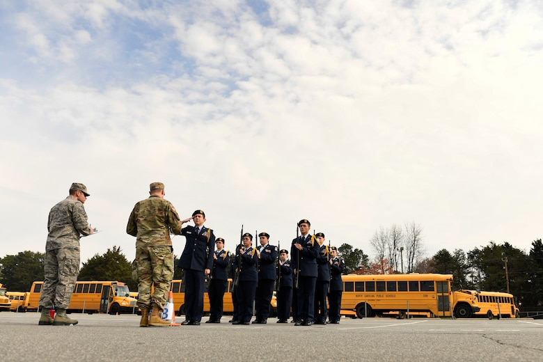 U.S. Air Force Junior Reserve Officers' Training Corps cadets from Lincolnton High School compete in the armed flight drill during the Patriot Classic Drill Competition held at Independence High School, Charlotte, N.C., March 10, 2018. Over 300 students from 14 high schools traveled from as far as 3 hours away to compete and were judged by volunteers from the North Carolina Air National Guard and Army National Guard.