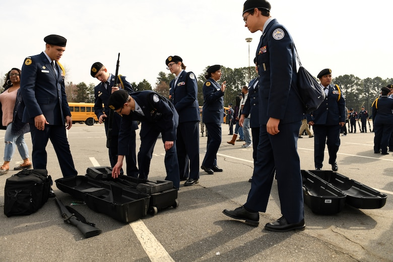 U.S. Air Force Junior Reserve Officers' Training Corps cadets from Lincolnton High School pack up drill rifles during the Patriot Classic Drill Competition held at Independence High School, Charlotte, N.C., March 10, 2018. Over 300 students from 14 high schools traveled from as far as 3 hours away to compete and were judged by volunteers from the North Carolina Air National Guard and Army National Guard.