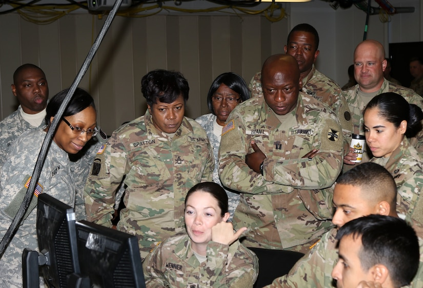 The 2503rd Digital Liaison Detachment and its reserve counterpart the 206th DLD out of Columbia, S.C., worked together for the first time at the Mission Training Center on Shaw Air Force Base, S.C., March 2, 2018. The mission training center provides the Soldiers with all the tools and operating systems in order to conduct realistic and beneficial training.