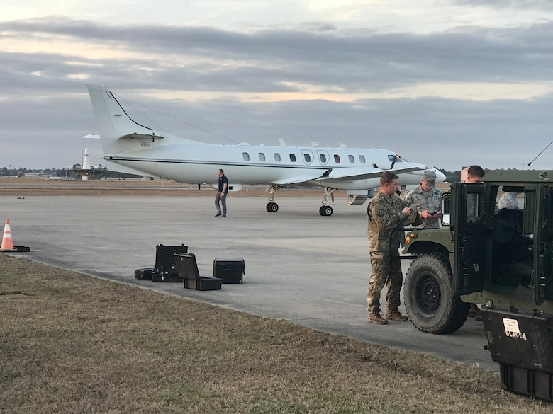 Eight Airmen with the 178th Intelligence, Surveillance and Reconnaissance Group temporarily deployed to Camp Shelby, Hattiesburg, Mississippi, on a mobile team in support of Patriot South, Feb. 13-15.